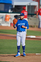 Ogden Raptors starting pitcher Antonio Hernandez (27) during the game against the Orem Owlz at Lindquist Field on July 27, 2019 in Ogden, Utah. The Raptors defeated the Owlz 14-1. (Stephen Smith/Four Seam Images)