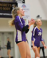 Kennedy Phelan (4) of Fayetteville cheers after ace on Thursday, Oct.  7, 2021, during play at Tiger Arena in Bentonville. Visit nwaonline.com/211008Daily/ for today's photo gallery.<br /> (Special to the NWA Democrat-Gazette/David Beach)