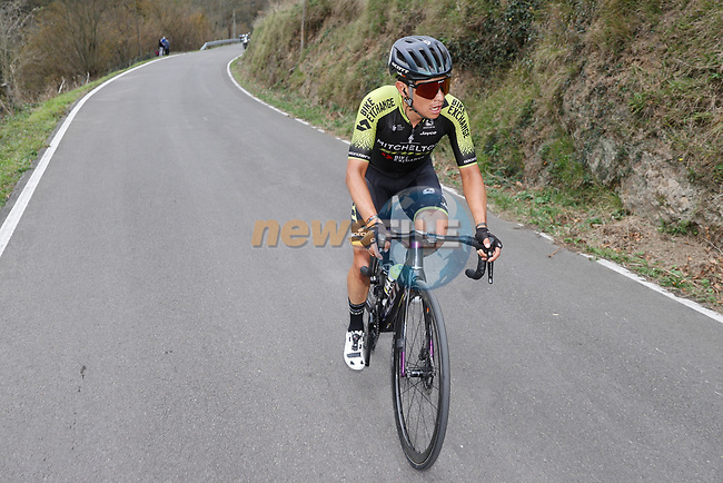 Esteban Chaves (COL) Mitchelton-Scott attacks from the 21 man breakaway group during Stage 12 of the Vuelta Espana 2020 running 109.4km from Pola de Laviana to Alto de l'Angliru, Spain. 1st November 2020..    <br /> Picture: Luis Angel Gomez/PhotoSportGomez | Cyclefile<br /> <br /> All photos usage must carry mandatory copyright credit (© Cyclefile | Luis Angel Gomez/PhotoSportGomez)