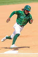 Beloit Snappers outfielder JaVon Shelby (5) rounds third base during a Midwest League game against the Quad Cities River Bandits on June 18, 2017 at Pohlman Field in Beloit, Wisconsin.  Quad Cities defeated Beloit 5-3. (Brad Krause/Four Seam Images)