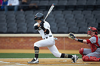 Patrick Frick (5) of the Wake Forest Demon Deacons follows through on his swing against the Sacred Heart Pioneers at David F. Couch Ballpark on February 15, 2019 in  Winston-Salem, North Carolina.  The Demon Deacons defeated the Pioneers 14-1. (Brian Westerholt/Four Seam Images)