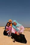 Israel, Negev. Bedouin women and girl