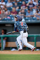 Jacksonville Jumbo Shrimp shortstop Mason Davis (2) follows through on a swing during a game against the Mobile BayBears on April 14, 2018 at Baseball Grounds of Jacksonville in Jacksonville, Florida.  Mobile defeated Jacksonville 13-3.  (Mike Janes/Four Seam Images)