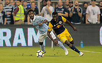 Kansas City, KS - Wednesday September 20, 2017: Kemar Lawrence during the 2017 U.S. Open Cup Final Championship game between Sporting Kansas City and the New York Red Bulls at Children's Mercy Park.