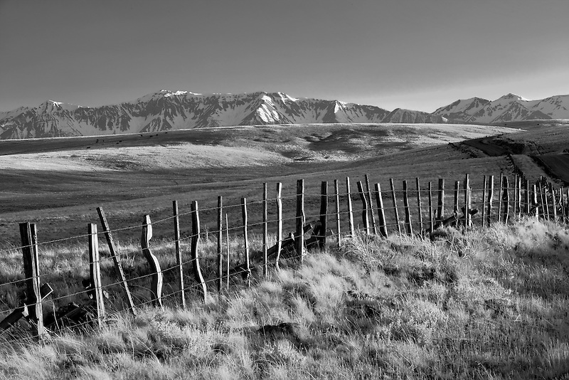 Pasture in Zumwalt Prairie with fence and Wallowa Mountains, Oregon