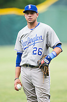 Brandon Dulin (26) of the Burlington Royals warms up in the outfield prior to the game against the Pulaski Mariners at Calfee Park on June 20, 2014 in Pulaski, Virginia.  The Mariners defeated the Royals 6-4. (Brian Westerholt/Four Seam Images)