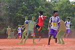 Auroville, India - April 2021: Human Unity in Covid Time. Football match.