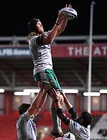 8th September 2020; Ashton Gate Stadium, Bristol, England; Premiership Rugby Union, Bristol Bears versus Northampton Saints; Alex Moon of Northampton Saints wins the lineout ball