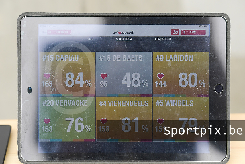 illustration picture of the Zulte Waregem tablet with POLAR dates  pictured during a female soccer game between SV Zulte - Waregem and Club Brugge YLA on the fourth matchday of the 2021 - 2022 season of the Belgian Scooore Womens Super League , saturday 11 of September 2021  in Harelbeke , Belgium . PHOTO SPORTPIX | DIRK VUYLSTEKE