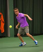 Rotterdam, The Netherlands, 07.03.2014. NOJK ,National Indoor Juniors Championships of 2014, Bastiaan Westrate (NED)   Kaj van den Heuvel (NED)<br /> Photo:Tennisimages/Henk Koster