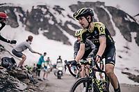 Mikel Nieve (ESP/Mitchelton-Scott) up the gravel roads of the Colle delle Finestre <br /> <br /> stage 19: Venaria Reale - Bardonecchia (184km)<br /> 101th Giro d'Italia 2018