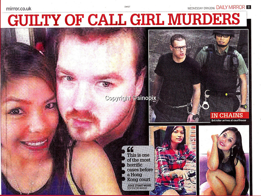 Daily Mirror Newspaper 09Nov2016<br /> British banker Rurik Jutting found guilty of murdering two Indonesian women in Hong Kong on 9th Nov, 2016