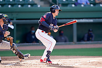Right fielder Tyler Esplin (25) of the Greenville Drive during a game against the Bowling Green Hot Rods on Thursday, May 6, 2021, at Fluor Field at the West End in Greenville, South Carolina. The catcher is Blake Hunt (12). (Tom Priddy/Four Seam Images)