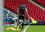 Motherwell v St Johnstone.....16.04.11  Scottish Cup Semi-Final.Asst Ref Billy Baxter wrapped in Motherwell ticker tape.Picture by Graeme Hart..Copyright Perthshire Picture Agency.Tel: 01738 623350  Mobile: 07990 594431