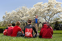 A college professor gives a lecture at Belmont Abbey College in Belmont NC.