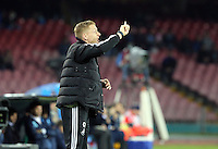 Thursday 27 February 2014<br /> Pictured: Swansea manager Garry Monk shouts instructions to his players<br /> Re: UEFA Europa League, SSC Napoli v Swansea City FC at Stadio San Paolo, Naples, Italy.