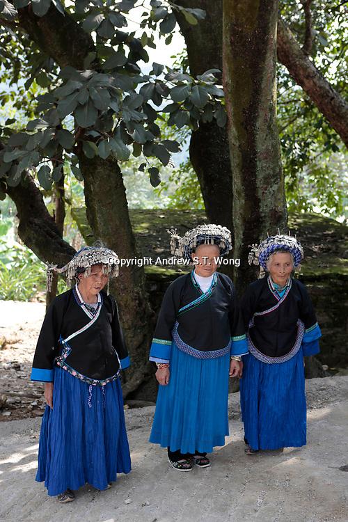 Elderly Bouyei women wear their traditional costumes at Guanling Bouyei and Miao Autonomous County in Guizhou Province, 2018.