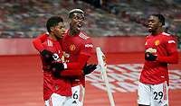 Football - 2020 / 2021 Premier League - Manchester United, ManU vs Wolverhampton Wanderers - Old Trafford Marcus Rashford and Paul Pogba of Manchester United celebrate the winning goal at Old Trafford PUBLICATIONxNOTxINxUK 7777<br /> Photo Imago/Insidefoto <br /> ITALY ONLY