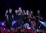 JYJ, Aug 09, 2014 : Yuchun, Aug 9, 2014 : Yuchun (C) of South Korean boy band JYJ performs during their 2014 Asia Tour 'The Return of The King' Concert at Jamsil stadium in Seoul, South Korea.  (Photo by Lee Jae-Won/AFLO) (SOUTH KOREA)