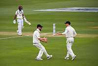 NZ's Daryl Mitchell congratulates Will Young for catching Kraigg Brathwaite during day three of the second International Test Cricket match between the New Zealand Black Caps and West Indies at the Basin Reserve in Wellington, New Zealand on Sunday, 13 December 2020. Photo: Dave Lintott / lintottphoto.co.nz