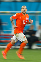 Motion blur of Wesley Sneijder of the Netherlands