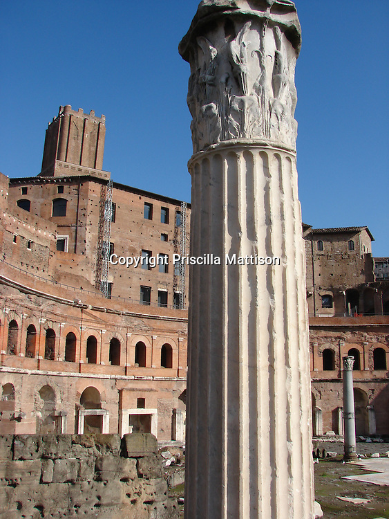 Rome, Italy - January 27, 2007:  A  column stands, part of the ruins of Trajan's Market.
