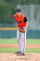 FCL Orioles Orange pitcher Dan Hammer (2) during a game against the FCL Pirates Black on July 26, 2021 at Pirate City in Bradenton, Florida.  (Mike Janes/Four Seam Images)