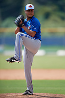 Toronto Blue Jays relief pitcher Francisco Rios (26) delivers a pitch during a Florida Instructional League game against the Pittsburgh Pirates on September 20, 2018 at the Englebert Complex in Dunedin, Florida.  (Mike Janes/Four Seam Images)