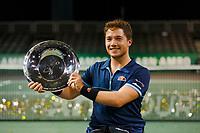 Rotterdam, The Netherlands, 15 Februari 2020, ABNAMRO World Tennis Tournament, Ahoy, <br /> Wheelchair Final: Alfie Hewett (GBR) celebrates his win.<br /> Photo: www.tennisimages.com