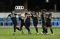 SAN JOSE, CA - OCTOBER 03: Andy Rios #25 of the San Jose Earthquakes celebrates scoring with teammates during a game between Los Angeles Galaxy and San Jose Earthquakes at Earthquakes Stadium on October 03, 2020 in San Jose, California.