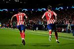 Thomas Lemar (L) and Alvaro Morata (R) of Atletico de Madrid acelebrate goal during the UEFA Europa League match between Atletico de Madrid and Bayer 04 Leverkusen at Wanda Metropolitano Stadium in Madrid, Spain. October 22, 2019. (ALTERPHOTOS/A. Perez Meca)