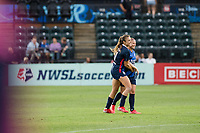 TACOMA, WA - JULY 31: Sofia Huerta #11 and Eugenie Le Sommer #9 of the OL Reign during a game between Racing Louisville FC and OL Reign at Cheney Stadium on July 31, 2021 in Tacoma, Washington.