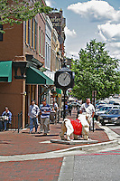 People on downtown sidewalks Broad Street Athens Georgia