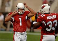 Nov. 6, 2005; Tempe, AZ, USA; Kicker (1) Neil Rackers of the Arizona Cardinals against the Seattle Seahawks at Sun Devil Stadium. Mandatory Credit: Mark J. Rebilas