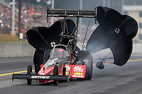 Oct 6, 2013; Mohnton, PA, USA; NHRA top fuel dragster driver David Grubnic during the Auto Plus Nationals at Maple Grove Raceway. Mandatory Credit: Mark J. Rebilas-