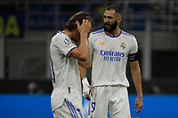 Karim Benzema of Real Madrid and Luka Modric of Real Madrid during the Uefa Champions League group D football match between FC Internazionale and Real Madrid at San Siro stadium in Milano (Italy), September 15th, 2021. Photo Andrea Staccioli / Insidefoto