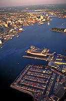 Aerial of Norfolk (left) and Portsmouth (right), VA. Port facilities on the Elizabeth River. Norfolk Virginia USA Tidewater Virginia.