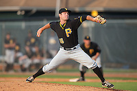 Bristol Pirates relief pitcher Tanner Anderson (16) delivers a pitch to the plate against the Johnson City Cardinals at Howard Johnson Field at Cardinal Park on July 6, 2015 in Johnson City, Tennessee.  The Pirates defeated the Cardinals 2-0 in game one of a double-header. (Brian Westerholt/Four Seam Images)