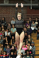 STANFORD, CA--March 1, 2013--Pauline Hanset with Stanford women's Gymnastics team competes on the beam during the competition against Cal and Oregon State University on the Stanford University Campus. Stanford won the competition .  Pauline Hanset