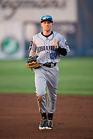 Hudson Valley Renegades center fielder Michael Smith (24) jogs back to the dugout during a game against the Auburn Doubledays on September 5, 2018 at Falcon Park in Auburn, New York.  Hudson Valley defeated Auburn 11-5.  (Mike Janes/Four Seam Images)