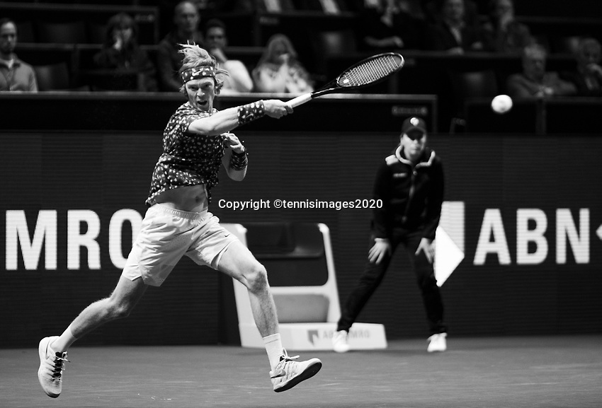 Rotterdam, The Netherlands, 11 Februari 2020, ABNAMRO World Tennis Tournament, Ahoy, <br /> Andrey Rublev (RUS).<br /> Photo: www.tennisimages.com