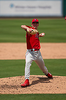 Philadelphia Phillies pitcher Zach Warren (33) during a Minor League Spring Training game against the Detroit Tigers on April 17, 2021 at Joker Marchant Stadium in Lakeland, Florida.  (Mike Janes/Four Seam Images)