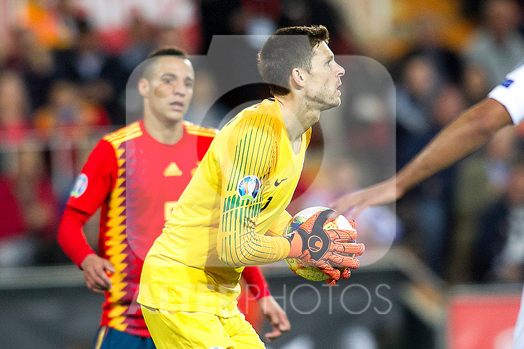 Norway's Rune Jarstein and Spain's Rodrigo Moreno  during the qualifying match for Euro 2020 on 23th March, 2019 in Valencia, Spain. (ALTERPHOTOS/Alconada)