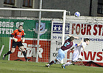 UCD Goalie Gerard Bannon and Drog's Brian Gannon as Drogheda Utd V UCD in the Airtricity League. (result UCD 1 Drogheda Utd 0)..(Photo credit should read Jenny Matthews/www.newsfile.ie)....This Picture has been sent you under the conditions enclosed by:.Newsfile Ltd..The Studio,.Millmount Abbey,.Drogheda,.Co Meath..Ireland..Tel: +353(0)41-9871240.Fax: +353(0)41-9871260.GSM: +353(0)86-2500958.email: pictures@newsfile.ie.www.newsfile.ie.