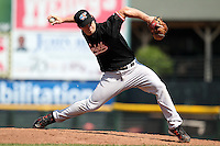 Norfolk Tides relief pitcher Mark Worrell #25 delivers a pitch during a game against the Rochester Red Wings at Frontier Field on June 5, 2011 in Rochester, New York.  Norfolk defeated Rochester 11-5 in eleven innings.  Photo By Mike Janes/Four Seam Images
