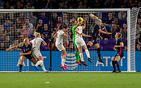 ORLANDO, FL - MARCH 05: Alyssa Naeher #1 of the United States punches the ball during a game between England and USWNT at Exploria Stadium on March 05, 2020 in Orlando, Florida.