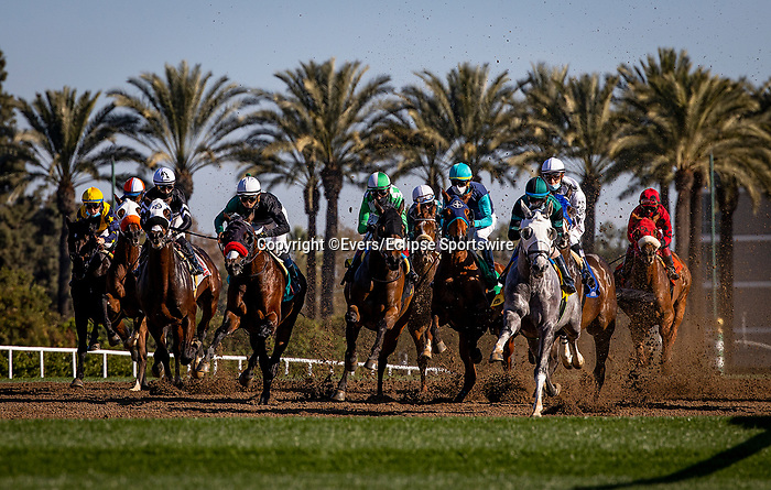 December 26, 2020: Horses race over the newly installed turf chute on Opening Day at Santa Anita Park in Arcadia, California on December 26, 2020. Evers/Eclipse Sportswire/CSM