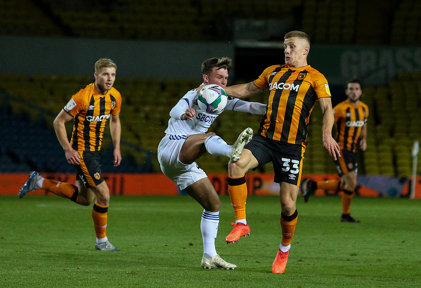Leeds United's Jamie Shackleton battles with Hull City's Greg Docherty<br /> <br /> Photographer Alex Dodd/CameraSport<br /> <br /> Carabao Cup Second Round Northern Section - Leeds United v Hull City -  Wednesday 16th September 2020 - Elland Road - Leeds<br />  <br /> World Copyright © 2020 CameraSport. All rights reserved. 43 Linden Ave. Countesthorpe. Leicester. England. LE8 5PG - Tel: +44 (0) 116 277 4147 - admin@camerasport.com - www.camerasport.com