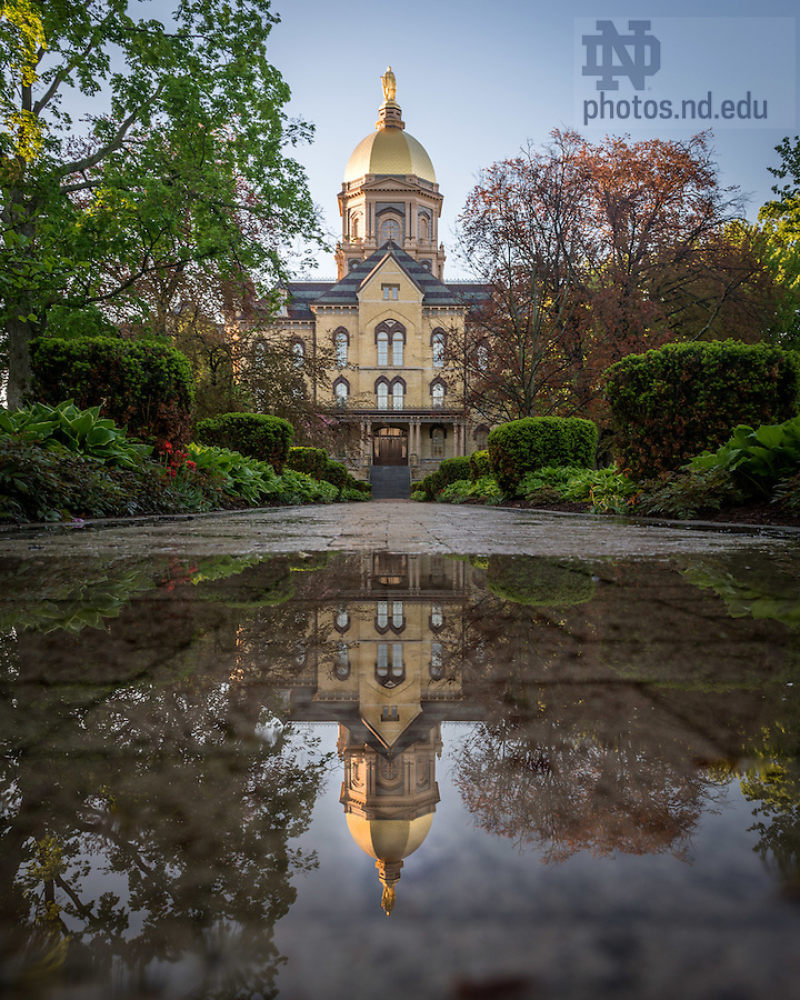 May 11, 2015; Reflection of the Main Building after a rain shower. (Photo by Matt Cashore/University of Notre Dame)