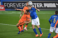 Luuk De Jong of Netherlands  and Giorgio Chielllini of Italy<br /> during the Uefa Nation League Group Stage A1 football match between Italy and Netherlands at Atleti azzurri d Italia Stadium in Bergamo (Italy), October, 14, 2020. Photo Andrea Staccioli / Insidefoto